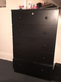 black wooden 5-drawer tallboy dresser Englewood, 07631