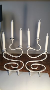 two white metal candlestick holders Toronto, M8V 1A7