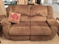 Brown Loveseat Double Recliner
