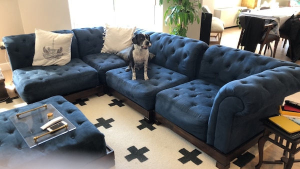 Blue Suede Tufted Sectional Sofa Pottery Barn Teen