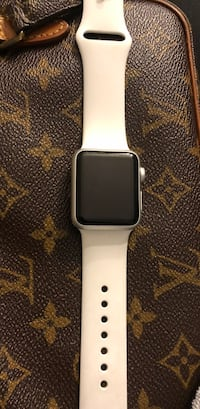 Space gray aluminum case apple watch with white sports band Woodbridge, 22193