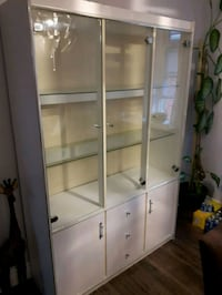 white wooden framed glass display cabinet Hamilton, L8T 3R2