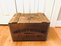 Anheuser Busch Budweiser Collectible Wooden Crate Warrenton, 20186