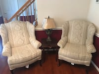 Whole living room set Two white and gray floral padded armchairs Woodbridge, 22193