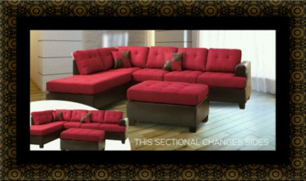 Red sectional with ottoman