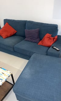 Couch with ottoman and cushions