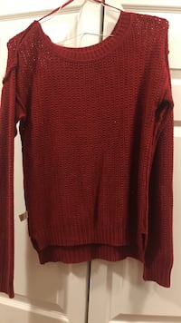 red scoop-neck sweater