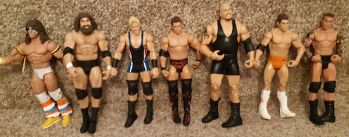 """7 Wrestling Figures 6/7""""  $55 for the lot or $10 each  Pick-up in Newmarket   (Ref # Bx 11 /apps)"""