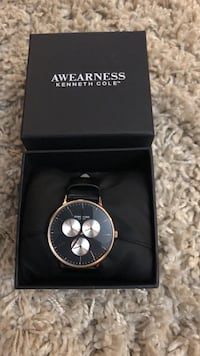 round silver Michael Kors chronograph watch with black leather strap 3489 km