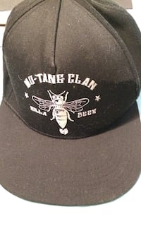 Black and white mu-tang clan embroidered printed fitted cap