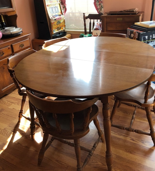 Rowlett Icinde Ikinci El Satlk Antique Rock Maple Dining Room Table With 6 Chairs