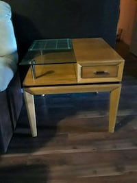 brown wooden single-drawer side table