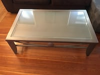 "Living room table and end table. Metal with glass top. Good shape with a few scratches. Together or separately. 50"" long by 30"" wide. Lynn, 01902"
