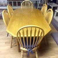Beautiful oak table 6 chairs and handmade covers  Willingdon, T0B 4R0