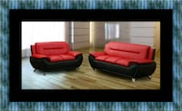 Red/black sofa and loveseat 2pc set Laurel