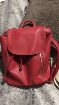 Red leather 2-way handbag