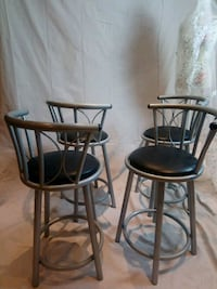 two black metal framed brown leather padded bar stools Vaughan, L6A 0P2