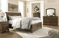 brown wooden bed frame with white bed comforter Mount Hope, 25880
