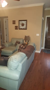 Tiffany Blue Leather couch and loveseat
