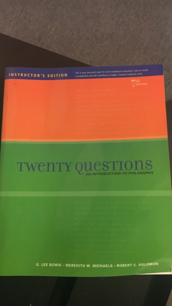 twenty questions an introduction to philosophy instructor's edition book