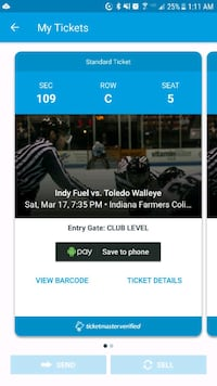 Indy fuel ticket to game vs Toledo walleye10/17/18 Kokomo, 46902