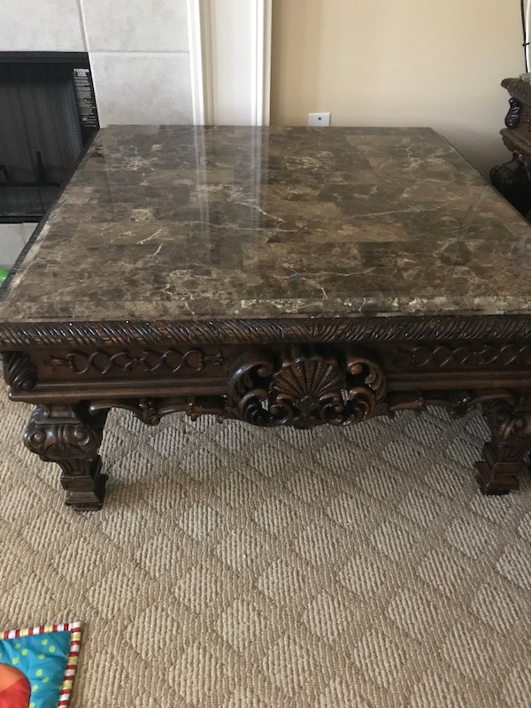 Used Ashley Furniture Marble Top Coffee Table For Sale In White
