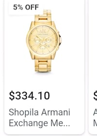round gold-colored chronograph watch with link bracelet Bellflower, 90706