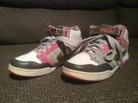 Pair of white and pink Nike high top sneakers , size 7.5