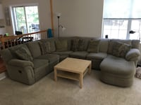 Olive and tan fabric sectional sofa with throw pillows JACKSON