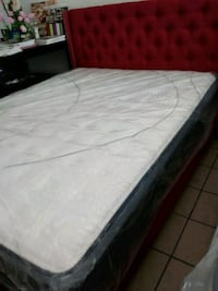 white mattress with black wooden bed frame Santa Ana