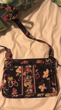 Black, pink, and yellow floral crossbody bag Easton, 75603