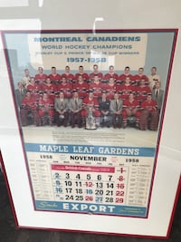 Montreal Canadians world Champions & Stanley Cup winners offering a 1958 calendar nicely framed with bright colours in excellent condition for any person who collects hockey memorabilia if interested any offers over $150.00 are considered  Toronto, M5V 2X5