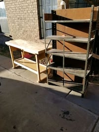 Woodworking table and shelves El Paso