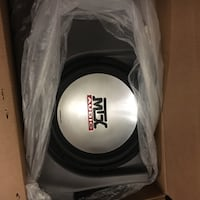 Black and gray mtx audio subwoofer with box Lethbridge, T1J 5B6