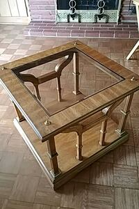 Square wood, glass and brass side or end table