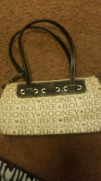 brown and white leather tote bag Round Rock