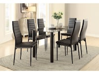 Dining Table Black Glass with 6 Chairs. Franklin Township, 08873