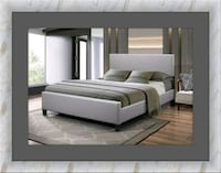 Grey platform bed free mattress& delivery all size Ashburn, 20147