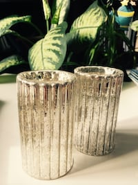 two cylindrical candle holder