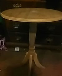 round brown wooden pedestal table 398 mi