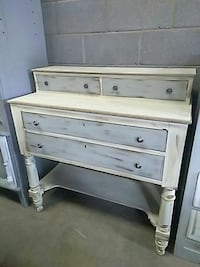 white and gray wooden desk with hutch