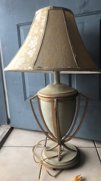 brown wooden base with white lampshade table lamp Laredo, 78046