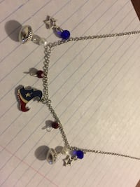 silver and purple beaded necklace