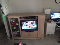 flat screen television with white wooden TV hutch Edmonton, T6C