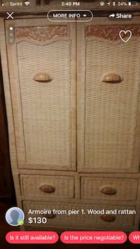 Beige tan dresser armoire tv cabinet from pier one imports, all drawers work no major damage  1248 mi