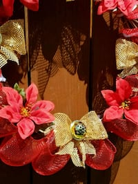 New, handmade red and gold holiday wreath $30 Carson, 90745