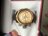 Gold Invicta Watch with Brown Leather Wrist Band (Never Worn)  Washington, 20024