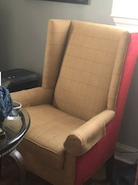 Beige and red new Lee and co wingback chair.
