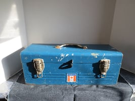 Vintage Canadian Tire Steel Metal Tool Box with Original Red Tray