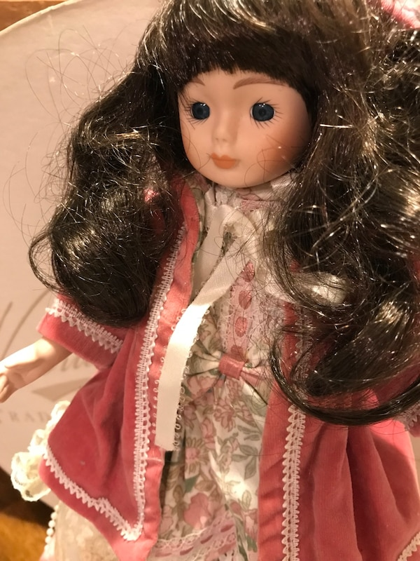 Pretty Victorian Small Porcelain Doll with long Dark hair eb9f70fa-8e4e-4ad9-9a5d-ddcf88be8d76